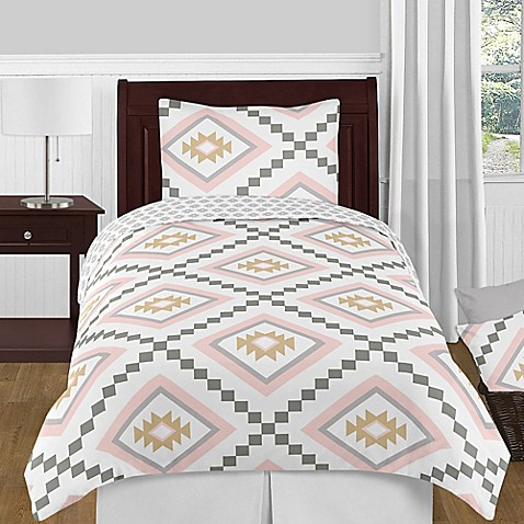 kids bedding sets sweet jojo designs aztec 4 piece twin comforter set in pink gold from buy. Black Bedroom Furniture Sets. Home Design Ideas