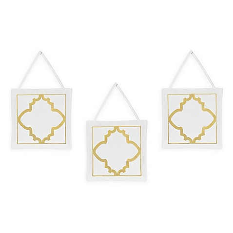Sweet jojo designs ava 3 piece wall hanging set in gold for Wall piece design