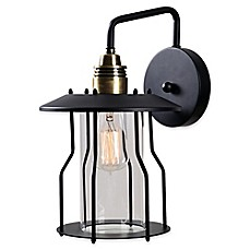 image of Kenroy Home Trevor Wall-Mount Outdoor Lantern in Antique Bronze/Black