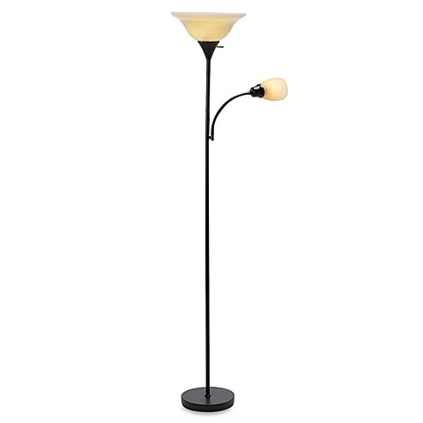 Marvelous Alton Torchiere Floor Lamp With Reader In Bronze