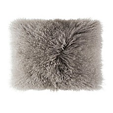 image of Cloud9 Design Mongolian Fur 14-Inch x 20-Inch Oblong Throw Pillow in Grey