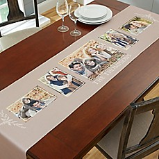 image of Family Photo Collage 96-Inch Table Runner in Grey