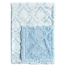 image of Baby Laundry® Minky Damask/Tile Blanket in Crystal Blue