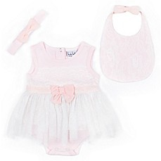 image of Nicole Miller 3-Piece Bow Bodysuit, Bib and Headband Set in Pink