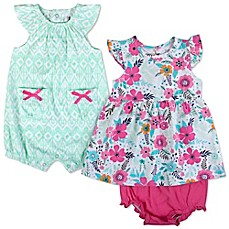 image of Baby Essentials 3-Piece Geometric Romper and Floral Dress and Diaper Cover Set in Mint/Pink