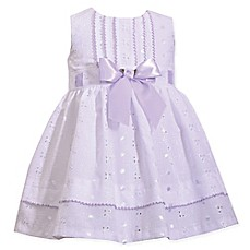 image of Bonnie Baby Seersucker Bodice Ribbon Dress in Lavender