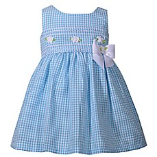 image of Bonnie Baby 2-Piece Sleeveless Seersucker Dress and Panty Set in Aqua