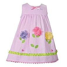image of Bonnie Baby 2-Piece Gingham Floral Dress in Pink
