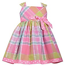 image of Bonnie Baby 2-Piece Plaid and Polka Dot Seersucker Dress and Panty Set in Pink