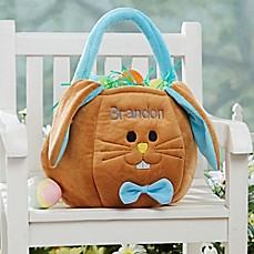 image of Embroidered Easter Bunny Basket in Blue/Brown