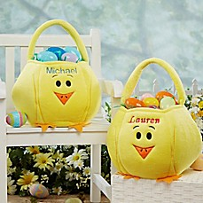image of Embroidered Easter Chick Basket in Yellow