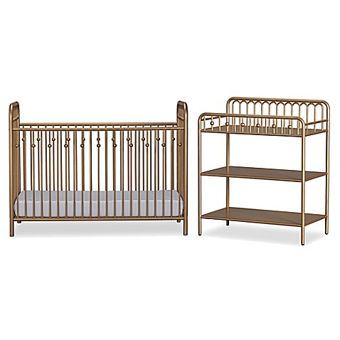 Little Seeds Monarch Hill Ivy Metal Crib And Changing Table In Gold