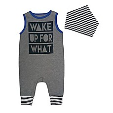 "image of Mini Heroes 2-Piece ""Wake Up For What"" Coverall and Bandana Set"