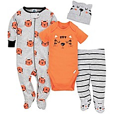 image of Gerber® 4-Piece Tiger Footie, Bodysuit, Pant, and Hat Set in Orange/Grey
