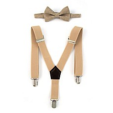 image of Rising Star™ Infant/Toddler 2-Piece Suspender and Bow Tie Set in Tan