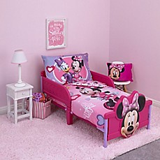 image of Disney® Minnie Mouse Hearts and Bows 4-Piece Toddler Bedding Set