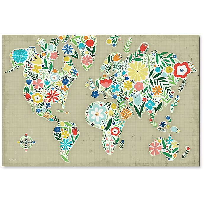 Courtside Market Floral World Map 24 Inch X 36 Inch Canvas Wall Art Buybuy Baby