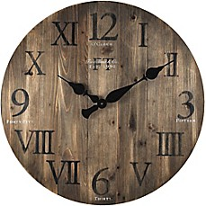 image of FirsTime® Rustic Barnwood Round Wall Clock