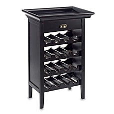 image of Powell Black Wine Storage Cabinet with Tray