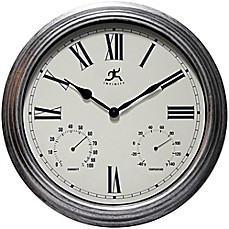 image of Infinity Instruments 16-Inch Rustic Wall Clock in Grey