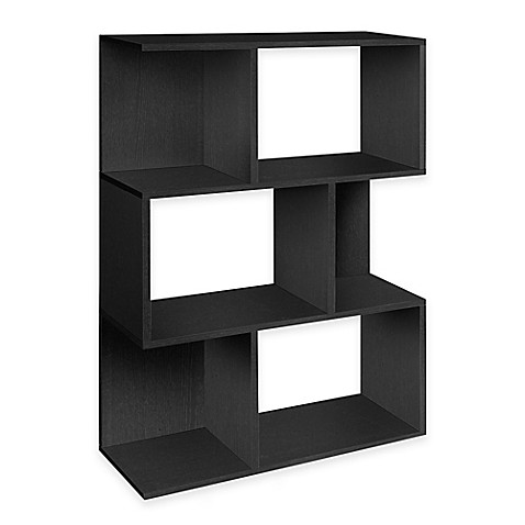 Way Basics Tool-Free Assembly zBoard paperboard 3-Shelf Madison Bookcase in Black Wood Grain