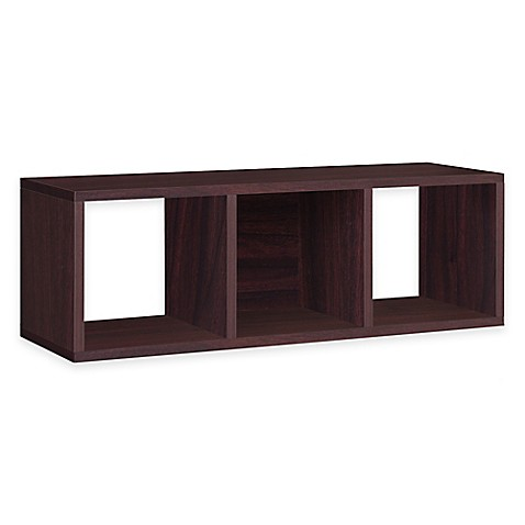 Way Basics Tool-Free Assembly Stackable 3-Cubby Storage Bench in Espresso Wood Grain