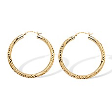 image of Palm Beach Jewelry 14K Yellow Gold 37mm Diamond-Cut Hoop Earrings