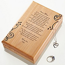 image of A Poem For Her Engraved Wood Jewelery Box