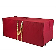Simplify Holiday Tree/Decoration Storage Tote With Wheels In Red/Gold