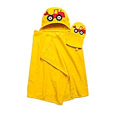 image of Tractor Hooded Bath Wrap with Mitt in Yellow