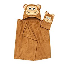 image of Monkey Hooded Bath Wrap with Mitt in Brown