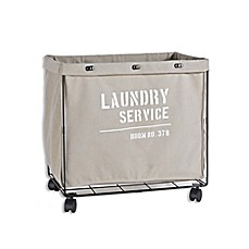 image of Danya B. Army Canvas Laundry Hamper on Wheels in Grey