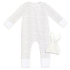 image of Tealbee 2-Piece Dot Coverall with Folder Feet and Bunny Hat Set in White