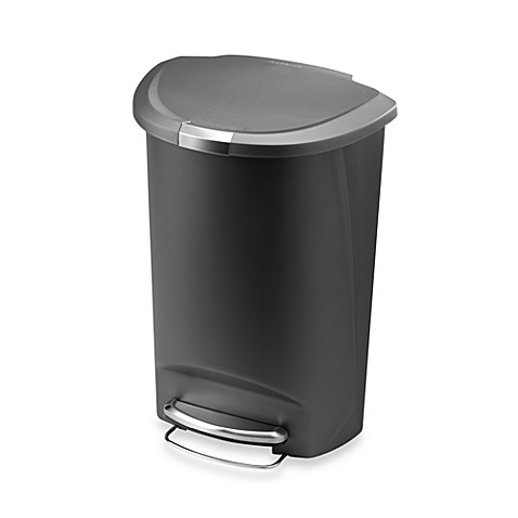 buy simplehuman plastic semi round 50 liter step on trash can in grey from b. Black Bedroom Furniture Sets. Home Design Ideas