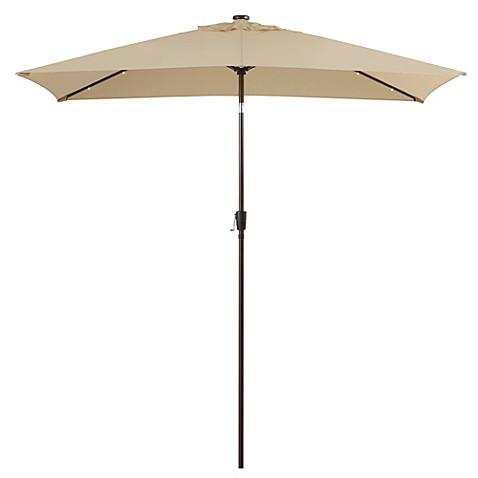11foot rectangular solar aluminum patio umbrella in natural - Rectangular Patio Umbrella