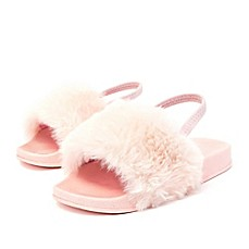 image of Stepping Stones Toddler Faux Fur Slide Sandal in Pink