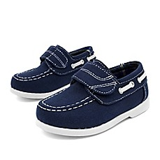 image of Stepping Stones Casual Canvas Boat Shoe in Navy