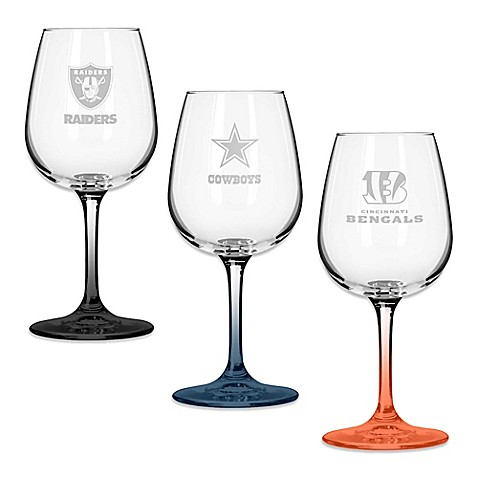 Nfl Team Logo Satin Etched Wine Glasses Set Of 2 Bed