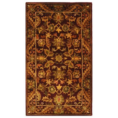 image of Safavieh Antiquities Wine and Gold Wool Accent Rugs