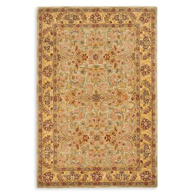 image of Safavieh Classic Wool Accent Rugs in Light Green/Gold