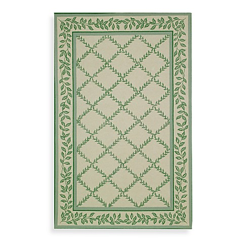 Safavieh Chelsea Wool 4-Foot 6-Inch x 6-Foot 6-Inch Oval Room Size Rug in Ivory and Light Green