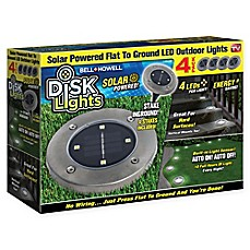image of Bell + Howell Disk Light Solar Powered Lights in Stainless Steel (Set of 4)