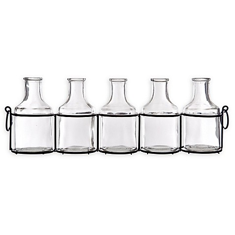 Home Essentials Beyond Mini Glass Vases In Metal Holder Set Of 5
