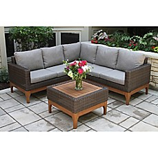 Image Of Outdoor Interiors® 4 Piece Wicker And Eucalyptus Patio Sectional  Set