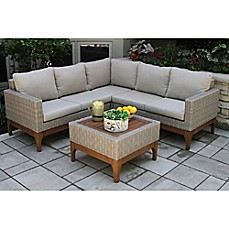 image of Outdoor Interiors® 4-Piece Wicker and Eucalyptus Patio Sectional Set