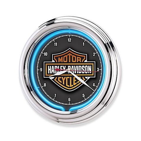 Harley Davidson Essential Bar Amp Shield Neon Clock Bed