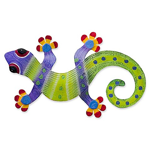 T.I. Design Gecko 15-Inch x 10-Inch Metal Wall Art in Purple/Green ...