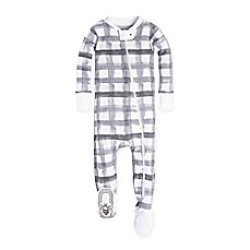 image of Burt's Bees Baby® Plaid Footed Pajama in Grey