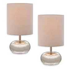 Catalina Mercury Glass Table Lamps In Beige With Fabric Shades (Set Of 2)