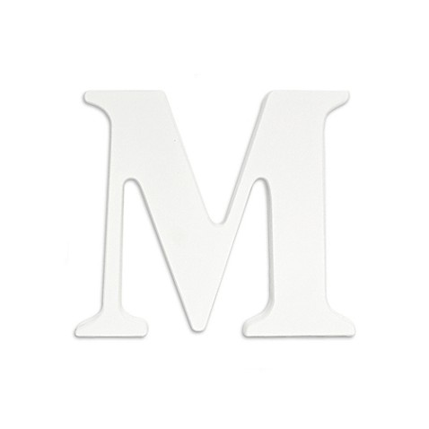 Buy white hanging wall letter m with ribbons from bed for Party wall act letter to neighbour